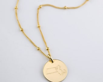 Gold State necklace, Personalized Massachusetts necklace, California, Texas, New York, Oregon, MA rose gold necklace, sterling silver disc