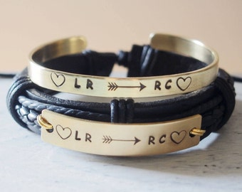 Personalized Couples Bracelets leather, Custom Couples Bracelets boyfriend and girlfriend, Personalized Bracelet couples bracelets set