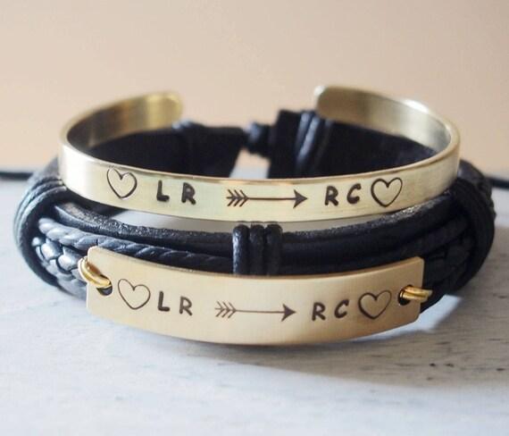 personalized couples bracelets leather custom couples. Black Bedroom Furniture Sets. Home Design Ideas