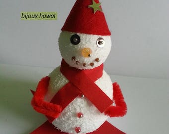 Red and white snowman