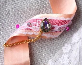Lacy Swarovski Bracelet Peach/Pink/White-lace satin ribbon-crystal beads bracelet