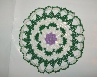 Floral Doily, Violet Flower, 100 Percent Cotton, Bedroom Decor