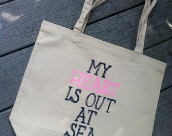 My Heart is out at Sea Tan Tote Bag