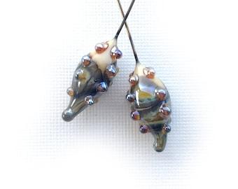 Dew Pods Lampwork Glass Headpins, Handmade Dewdrop Headpins, Bumpy Lampwork Headpin Findings, Ivory Raku Lampwork, 1 Pair, DryGulch, Invicti