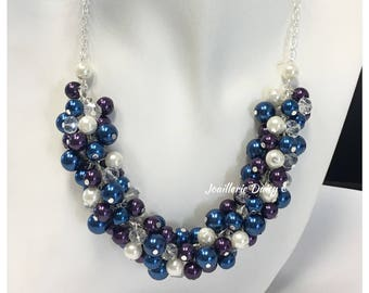 Navy and Purple Necklace Cluster Necklace Pearl Necklace Bridesmaids Gift for Her Maid of Honor Gift Chunky Necklace Navy Necklace Wedding