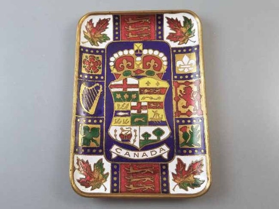 Antique Edwardian 1903 brass enamel Canadian coat of arms trinket tray, tip tray, ring tray, Canada