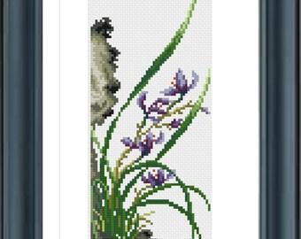 Orchid Cross Stitch Pattern, Cross Stitch, Counted Cross Stitch, Cross Stitch Chart, Xstitchpatterns, Cross Stitch Flowers