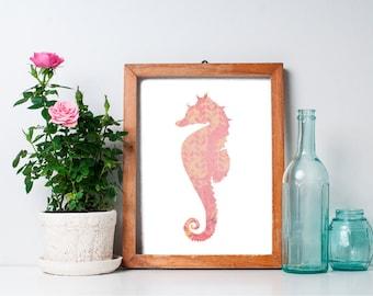 Seahorse Art Print - 8x10 Nautical Art Print, Ocean Art, Beach Art Print