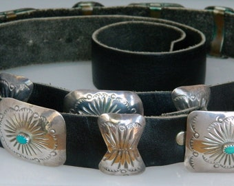 Native American Old Pawn Navajo Turquoise Sterling Silver Concho Belt Signed James Harrison 1980