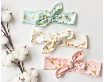 Head band for baby or girl colors golden birds