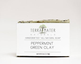 Peppermint green clay handmade natural vegan palm-free Soap