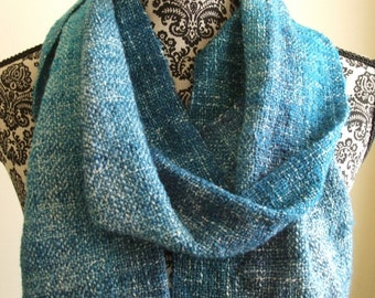 Hand Woven Scarf in Blue Teal