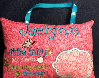 Personalized Pink Tooth Fairy Pillow