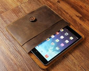 Personalized Vintage Distressed Leather ipad mini 4,3,2 Portfolio Case, ipad mini leather cover ogranizer - IDMXOO5S