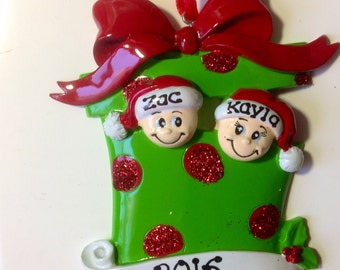 Elves in Present Personalized Christmas Ornament Family of Two, Twins First Christmas, Newlywed's Couple's 1st Christmas