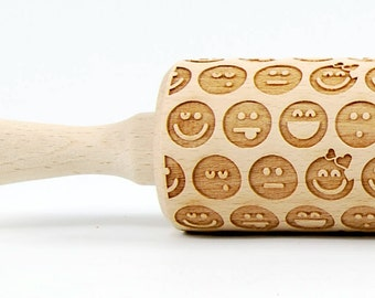 Emoticons embossing rolling pin, engraved rolling pin