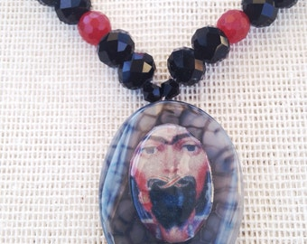 Black and Red Frida Kahlo Statement Necklace