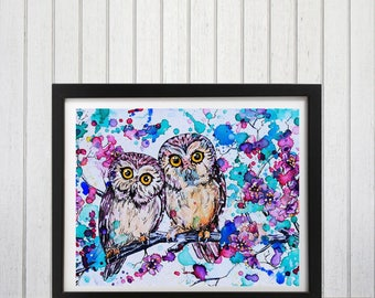 Owl, Owl wall art, Owl painting, Kids room decor, Woodland nursery art, Owl decor, Nursery art, Cherry Blossoms, Woodland print