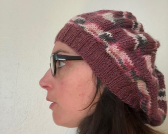 Striped Comfy Beanie - Mauve/Multi-Coloured Pink