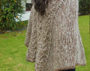 Alpaca Poncho made from 80% Alpaca Wool Turtleneck Light Brown and White made in Ecuador