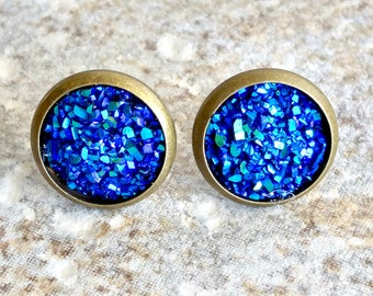 Dark Blue Earrings - Blue Earrings - Blue Earrings Studs - Blue Earrings Boho - Blue Druzy - Dark Blue Jewelry - Dark Blue Stud Earrings