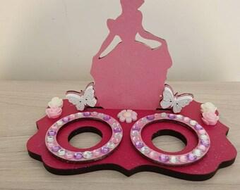 wooden princess themed kinder egg holder or LED Tea light holder