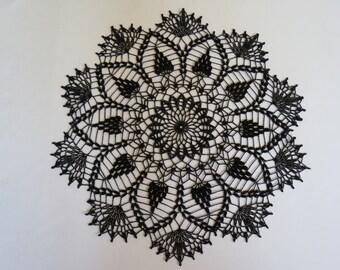 Round crochet 20 inch black doily
