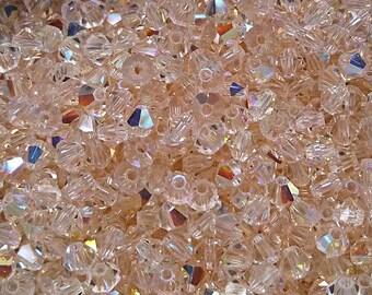 4mm Bicone Bead, Silk Swarovski crystal 5301 5328 , Crystal Passions®, Silk 4mm Bicone  - Vintage