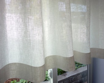 "100% Flax Linen - 38 Colors - Custom Cafe Curtain Made to Order. One Panel 50""-51""W. Custom Size.  100 Percent Pure Flax Linen Fabric"