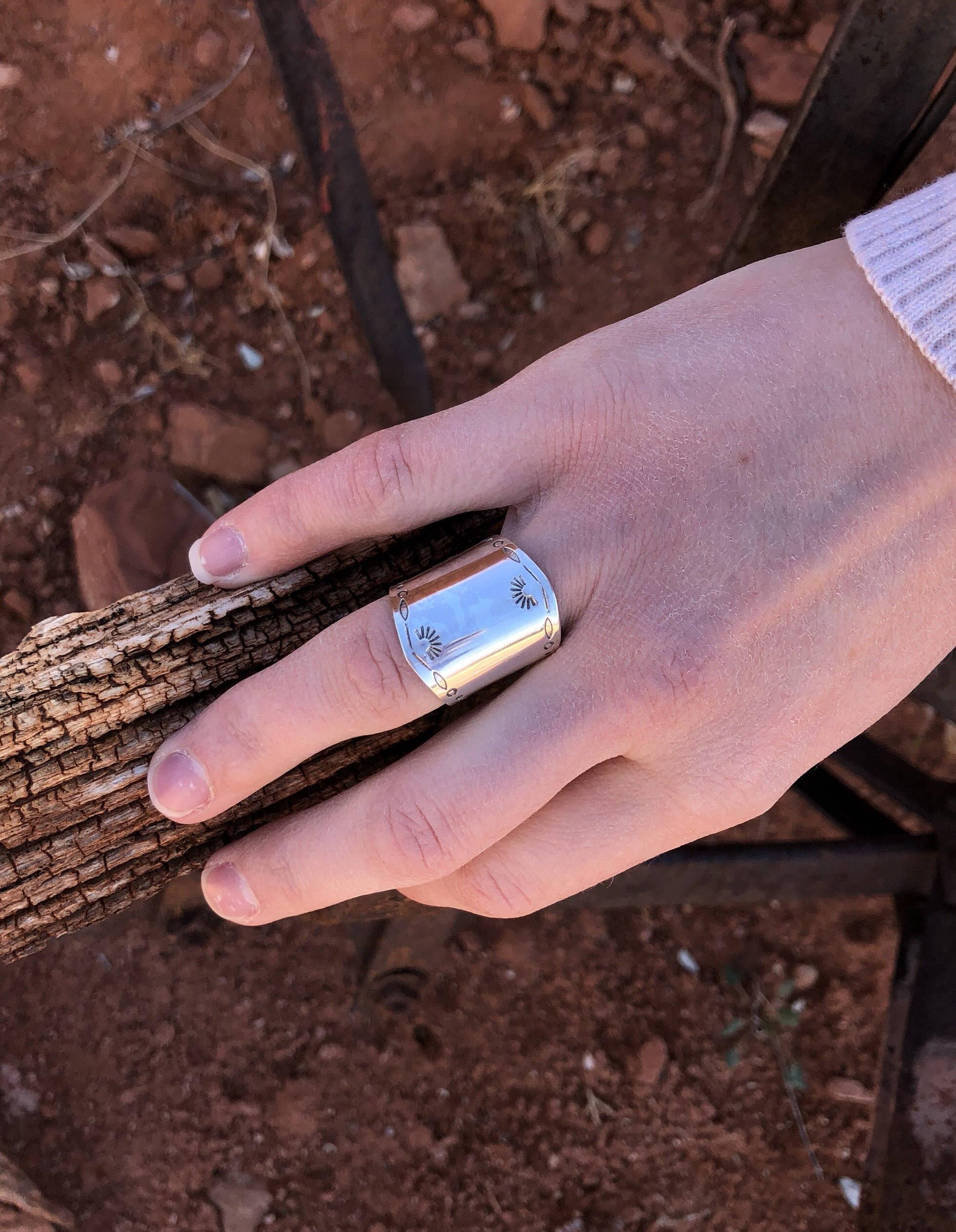 Sterling Sheild Ring Saddle Ring Ring size 8.25 Ring