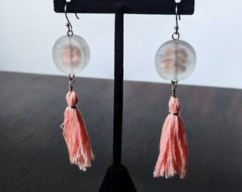Pink Tassel Earrings, 925 Sterling Silver, Copper Glass Jewelry, Fiber Art, OOAK