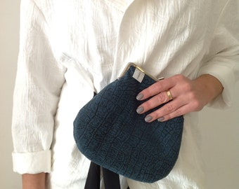 Blue Clutch, Vegan Clutch, Blue Kiss Lock Purse, Fabric Clutch, Kiss Lock Clutch, Metal Frame Purse,  Clutch Purse, Gift For Her
