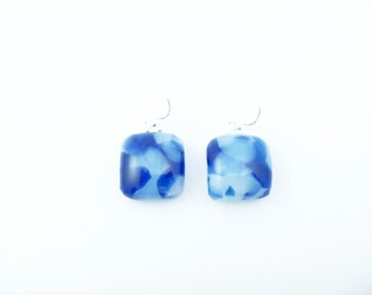 Recycled wine bottle earrings in blue and white glass on sterling silver/Eco-friendly blue and frosted glass kiln-fused square earrings