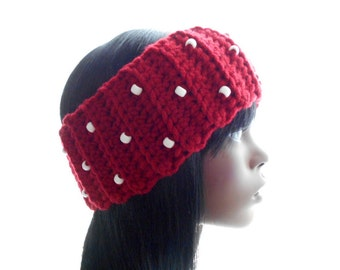 Beaded Red Wool - Blend Headband, Women's Crochet Earwarmer, Small to Medium Size
