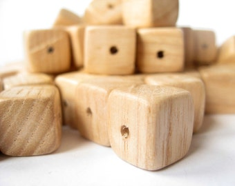 12x12 mm Wooden beads, Unfinished beads, Natural wood, Apricot tree, Natural polished, Set of 10