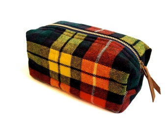Cosmetic Bag from Vintage Scottish Buchanan Tartan - Small