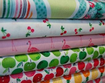 Makower 'Fruity Friends' Novelty Tropical Fruit and Flamingo Party 100% Cotton Fabrics & Bunting Panel