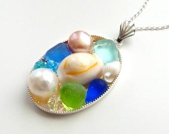 Beach Necklace, Handmade Sea Glass Pendant, Shell and Pearl Necklace, Shell Necklace, Ocean Necklace, Beach Glass Necklace,Seaglass Necklace