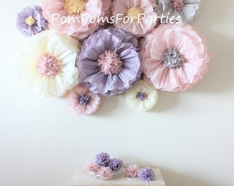 10 oversized paper flowers ash pink ash lilac ivory grey oversized paper flowers 8 units ash pinkash lilac dusty blush vintage party centerpiece mightylinksfo