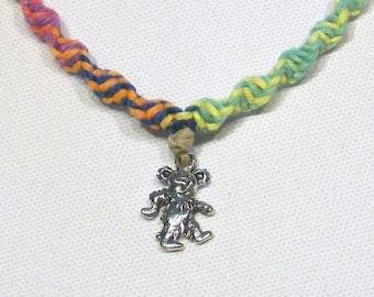 Grateful Dead Dancing Bear Hemp Necklace with Rainbow Colored Hemp