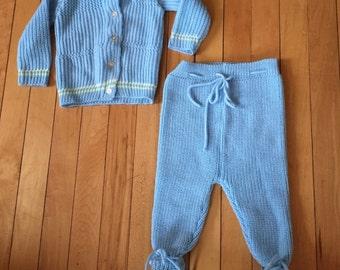 Vintage 1970s Baby Infant Boys Blue Knit Sweater Pants Set! Size 6-12 months
