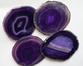 SALE - AGATE Slab Coaster Royal Purple Eggplant Lavender Crystal Geode Stone Slice Choose Edge Bridesmaid Wedding Gift Birthday Grad Present