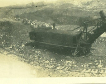 Steam Shovel Railroad Track Train Digging Heavy Equipment Building Construction Antique Vintage   Black White Photo Photograph
