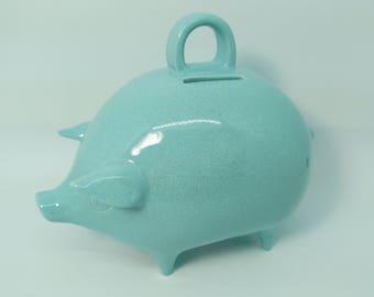 """Mexican Piggy Bank - Ceramic Pig Bank - Blue """"Ocean Mist"""" Opaque Gloss Glaze - Handmade - Retro Style - Ready to Ship"""