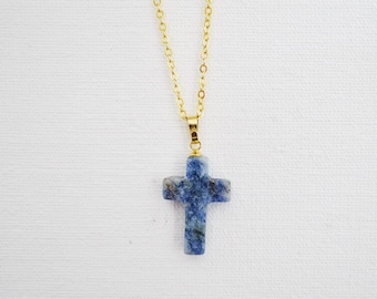 Gold-plated Cross Necklace--Cable Chain