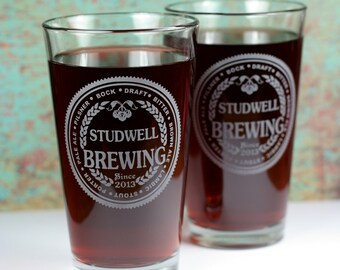 Personalized Brewing with Beer Names set of 2 Glasses, home brew gift, homebrew, beer gift, personalized gift, custom home brew glass