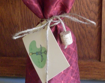 Fabric Wine Bottle Gift Bag with Gift Tag - Burgandy with machine Embroidery - one of a kind and ready to ship