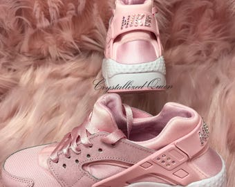 432b314c5196 Nike Air Huarache Prism Pink with custom Swarovski Crystals