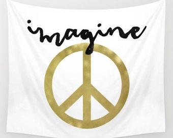 Peace Tapestry, Dorm Decor, Boho Decor, Imagine John Lennon, Gold Wall Tapestry, Peace Sign, Art Tapestry, Wall Hanging, Gold Wall Decor