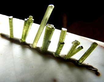 Green Tourmaline Crystal - raw rough natural stone - cluster fan spray needle specimen - wire wrap 1 - 1.5 inch - gemmy you choose AM35